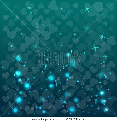 Abstract Blue Background For Valentine Day. Vector Illustration. Shapes Of Herts.