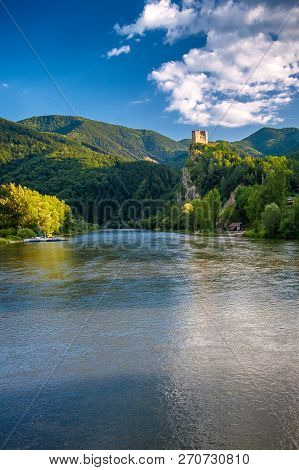 Medieval Castle Strecno On A Vah River Near Of Town Zilina, Central Europe, Slovakia.