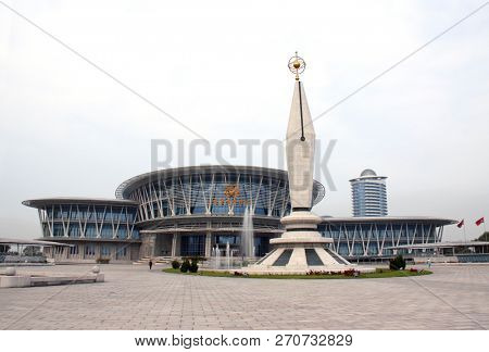 NORTH KOREA, PYONGYANG - SEPTEMBER 19, 2017: Palace of Science and Technology in capital of DPRK