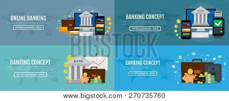 Set Of Business Web Banners For Online Banking And Banking Concepts. Modern Banners For Internet Ban