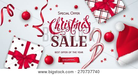 Vector Horizontal Banner For Christmas Sale With Gift Boxes, Santa Claus Hat, Candy Canes, Ribbons,