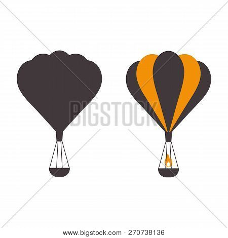Hot Air Balloons Icons In Monochrome. Vintage Gas Balloon Logo Template. Air Craft Adventure, Explor