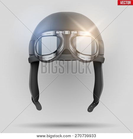 Retro Aviator Pilot Leather Helmet With Goggles. Aviation History Symbol. Vintage Style. Vector Illu