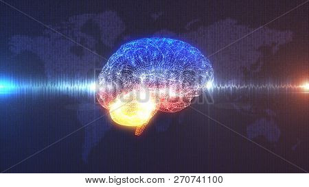 Brain Wave - Cgi 3d Render Of Artificial Intelligence In Front Of Map Of The Earth Rendered In Digit