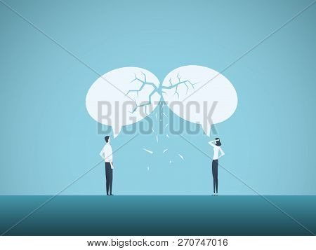 Business Communication Breakdown Vector Concept. Symbol Of Misunderstanding, Negotiation Problems, M