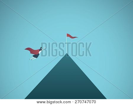 Businesswoman Superhero Flying Toward Flag On Mountain Top Vector Concept. Symbol Of Ambition, Busin