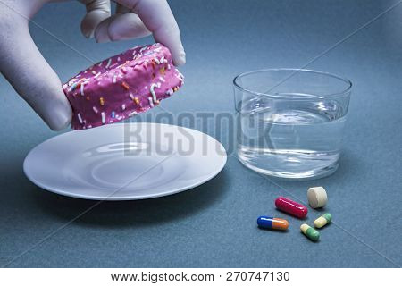 Various Medicines To Combat Diabetes Along With A Sweet Cake, Concept Of Disease Of Hyperglycemia Or