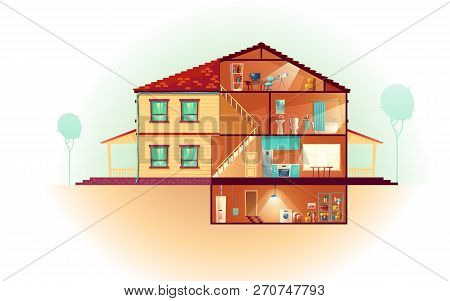 Modern House, Two-storey Cottage Exterior And Cross Section Interiors Cartoon Vector With Laundry In