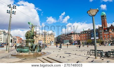 Copenhagen, Denmark - April 19, 2010: The City Hall Square Or Radhuspladsen In The Center Of Copenha