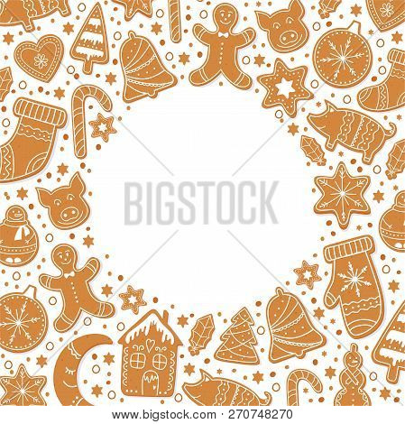Background Merry Christmas Gingerbread Cookies Figures