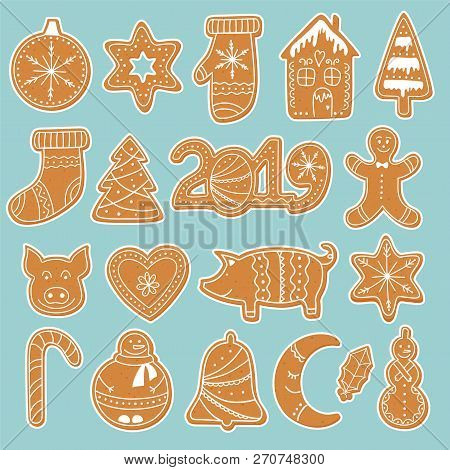 Set Of Gingerbread Cookies Stickers