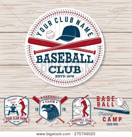 Set Of Baseball Or Softball Club Badge. Vector. Concept For Shirt Or Logo, Print, Stamp, Patch Or Te