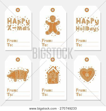 Christmas Vintage Gift Tags Set With Gingerbread Cookies