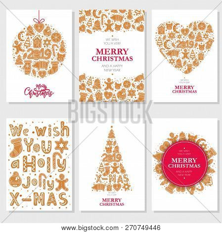 Set Of Christmas Cards With Gingerbread Cookies