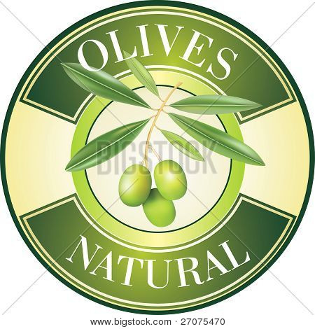 Label for product. Olive oil. Green olives.