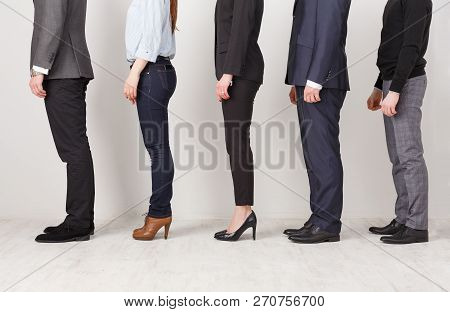 Unrecognizable Business People Profile In Office. Professional Team Posing For Photo, Subordination