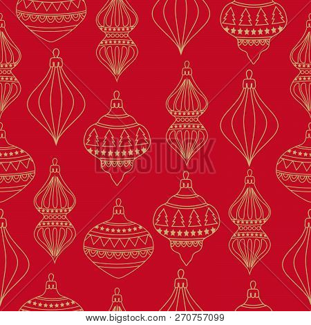 Christmas Seamless Pattern With Christms Balls