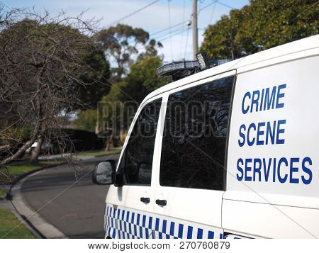 Melbourne, Australia - July25, 2018: Police Crime Scene Services Van In An Suburban Area Of Glen Wav