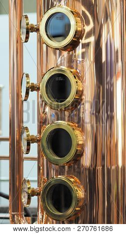Copper And Brass Complex Distillation Arrangement With Inspection Windows
