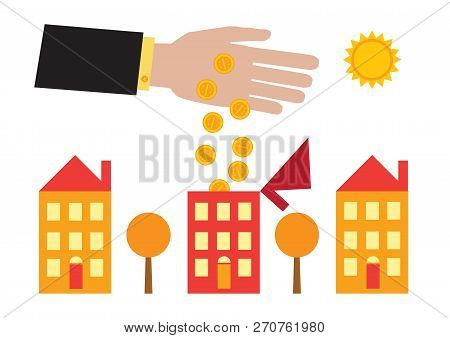 A Vector Illustration Of A Large Hand Pouring Coins Into A House With Its Roof Open. A Metaphor On H