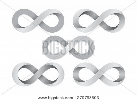 Set Of Infinity Signs Made Of Different Types Of Torsion. Mobius Strip Symbols. Vector Illustration