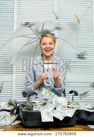 Financial Success. Accountant With Pile Money Hide Under Umbrella. Accountant Enjoy Cash Rain In Off