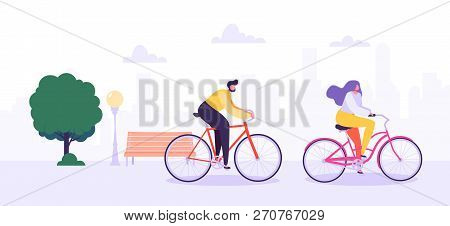 Man And Woman Characters Riding Bicycle In The City Background. Active People Enjoying Bike Ride In