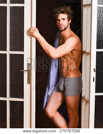 Man Lover Near Door. Sexy Bachelor Lover Concept. That Was Great Night. Guy Attractive Lover Posing
