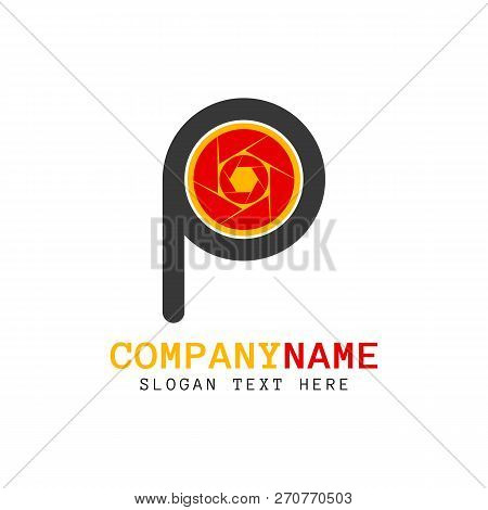Vector Letter P Shutter Photo Logo Design Template. Letter P And Shutter Camera That Made From A Sim