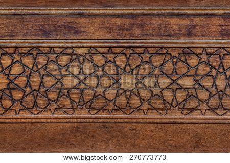 Ancient Islamic Decoration On Wood In Kashan, Iran