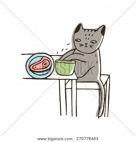 Adorable Cat Stealing Food From Plate Lying On Table And Eating It. Funny Naughty Kitty Isolated On