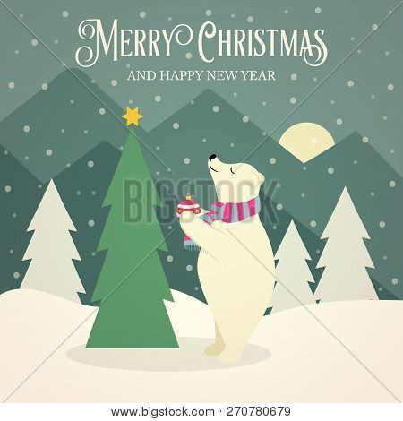 Beautiful flat design retro Christmas card with polar bear that adorns  the Christmas tree. Flat design. Vector poster