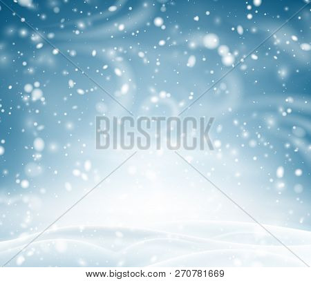 Blue Shiny Background With Winter Landscape, Snow And Blizzard.