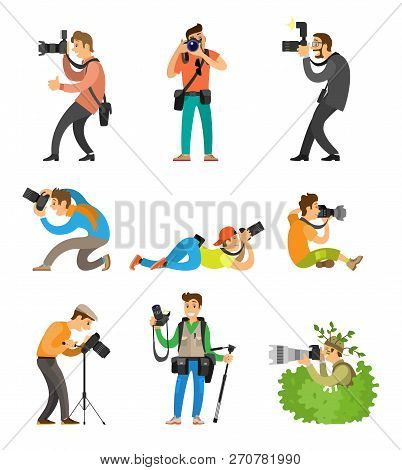 Photographers Or Photojournalists With Cameras On Tripod Taking Shots From Bottom, Above And Front A