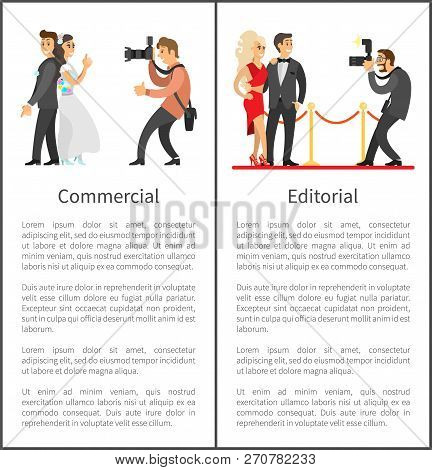 Photographer and paparazzi online vertical banners set. Wedding photo, bride next to groom, celebrities couple on red carpet vector illustrations. poster