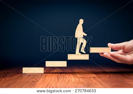 Coach Motivate To Personal Development, Success And Career Growth Concept. Version With Bigger Woode