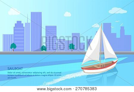 Modern Yacht Marine Nautical Personal Ship Icon. Sail Boat With White Canvas Sailing In Deep Blue Wa