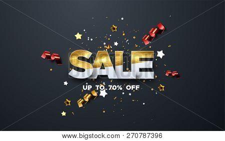 Sale Banner Design. Vector Illustration Of Paper Sale Badge Textured With Golden Paint, Confetti Par