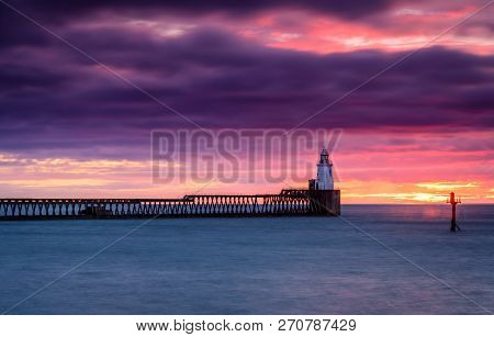 River Blyth Lighthouse On East Pier, As The River Reaches The North Sea Between The Piers Of Blyth H