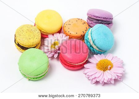 Colorful macaroons on the white background