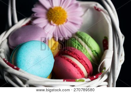 Macaroons in the white basket