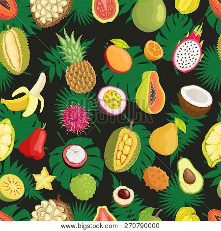 Tropical Exotic Fruits, Green Leaves Seamless Pattern Isolated. Banana And Champoo, Guava And Pineap