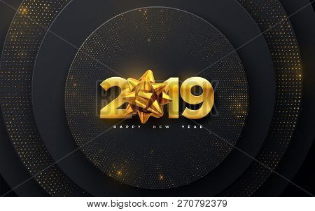 Happy New 2019 Year. Holiday Vector Illustration Of Numbers 2019 With Golden Bow On Layered Black Sh