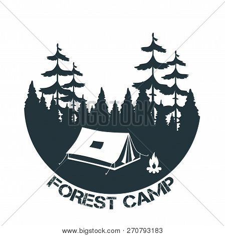 Vintage Camping And Outdoor Adventure Logo. Tent In Forest. Forest Camp. Vector Illustration