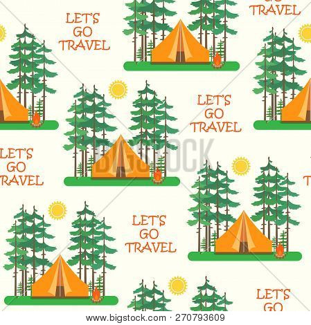 Seamless Colorful Tents Pattern. Camp Tent In Forest. Vector Illustration