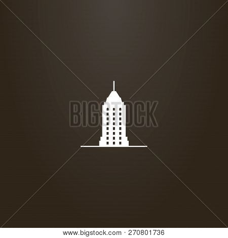 White Sign On A Black Background. Vector Flat Art Sign Of Skyscraper With A Spire