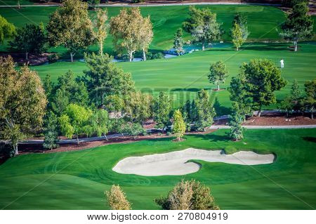 Beautiful Aerial Of A Golf Resort In Las Vegas Nevada