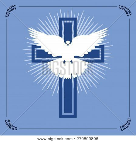 Vector Illustration Of Christian Cross And Radial Light With Flying White Dove Representing The Conc