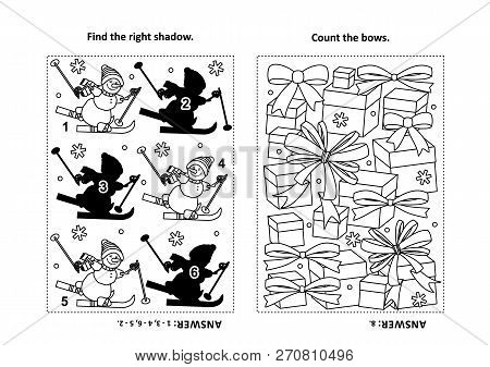 Two Visual Puzzles And Coloring Page For Kids. Find The Shadow For Each Picture Of Skiing Sporty Sno