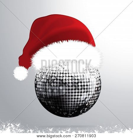 3d Illustration Of Silver Disco Ball With Red Santa Hat And Snow Over Gray Background